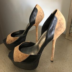 Bebe cork and leather peep toe pumps